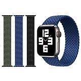 AnVerse 3 Pack Compatibles con las Correas de Apple Watch 42 mm / 44 mm Elásticos Nylon Elástico Trenzado Solo Loop Correas Deportivas de Repuesto para iWatch SE Series 6/5/4/3/2/1 (Negro/ Azul/Verde)