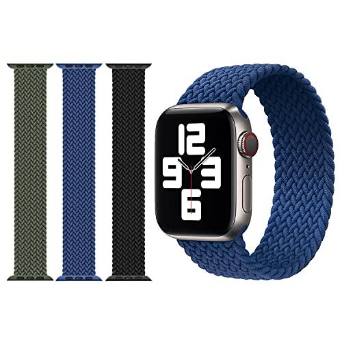 Anverse 3 Stück kompatibel mit Apple Watch Armband 42mm/44mm Elastisches Stretch Nylon Geflochtene Solo Loop Sport Straps Ersatzarmband für Iwatch Se Serie 6/5/4/3/2/1 (Schwarz/Blau/Grün)