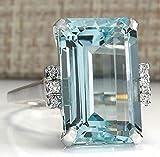 Lzz Vintage Fashion Lady 925 Silver Emerald Cut Blue Aquamarine Gemstone Ring with Diamond Ring Wedding Jewelry Size 5-11 (US Code 6)