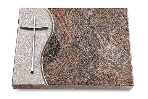 MEMORUM Grabmale Grabtafel, Grabplatte, Grabstein, Grabkissen, Urnengrabstein, Liegegrabstein Modell Wave 40 x 30 x 3-4 cm Paradiso-Granit, poliert inkl. Gravur (Aluminium-Ornament Kreuz 2)