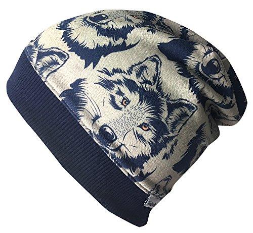 Wollhuhn Beanie-Mütze Wolf Taupe/dunkelblau, für Jungen und Mädchen, 20171111, Größe M: KU 51/53 (ca 3-5 Jahre)