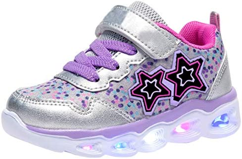 COODO Toddler Kid Girls Sneakers Flashing Glitter Shoes 6 M US Toddler Grey product image