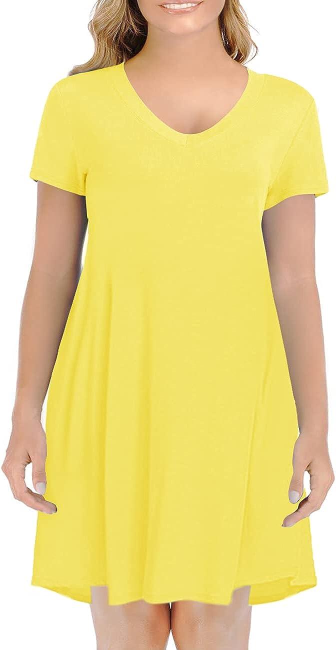 Haola Women's Summer Short Sleeve V Neck T-Shirt Dress Relaxed Street Casual Shirts Top