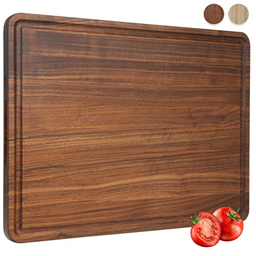 Extra Large Walnut Wood Cutting Board for Kitchen 20x15 Cheese Charcuterie Board (Free Gift Box) Extra Thick Reversible Butcher Block with Non-slip Mats Handles and Juice Groove by AZRHOM