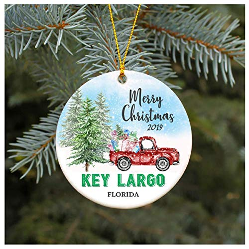None-brands Xmas Tree Ornament Covid 2020 Ornament Key Largo Florida FL Ornament, Decorative Ornament/Keepsake, 3' Flat Ceramic Ornament, Xmas Gift