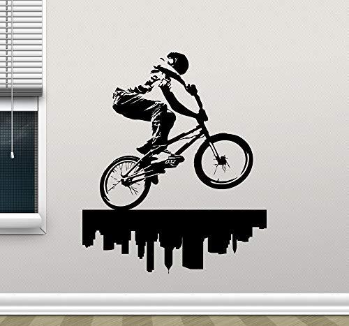 jiushivr Wandaufkleber Steuern Dekor Wohnzimmer Schlafzimmer Selbstklebende Vinyl Aufkleber DIY Wandtattoos Fahrrad Zyklus Fahrrad Jump 84x106cm