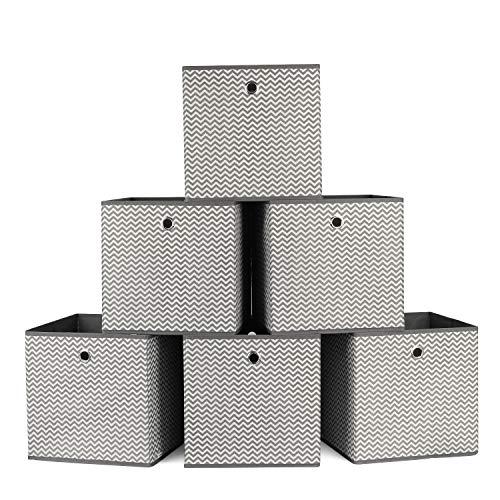 Homfa 6 Cajas Almacenamiento Tela Cajas Organizadores de Cajones paraRopasInterioresCalcetines Blanco y Gris 30x30x30cm