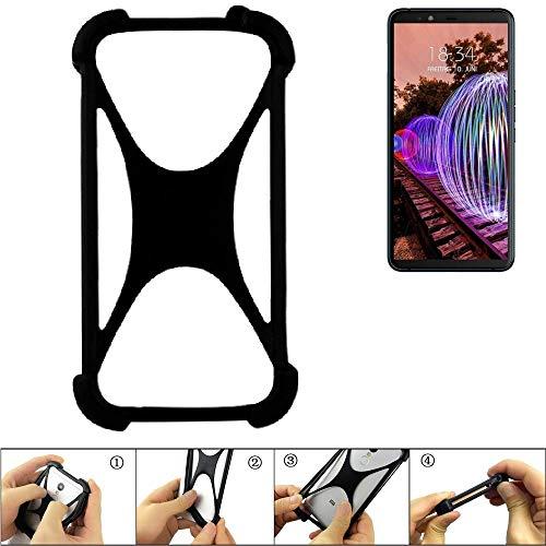 K-S-Trade® Handyhülle Für JVC J20 Schutz Hülle Silikon Bumper Cover Case Silikoncase TPU Softcase Schutzhülle Smartphone Stoßschutz, Schwarz (1x),