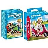 Playmobil 5573 - Zwillingskinderwagen &  9084 - Strand-Girl mit Roller