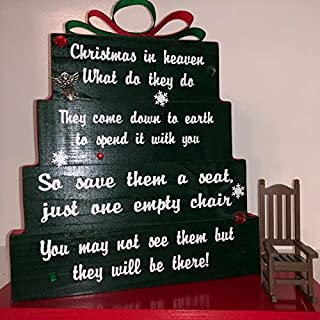 Christmas in Heaven, save them a seat, one empty chair, Christmas Green with red and green ribbon, red rhinestones and snowflakes with rocking chair