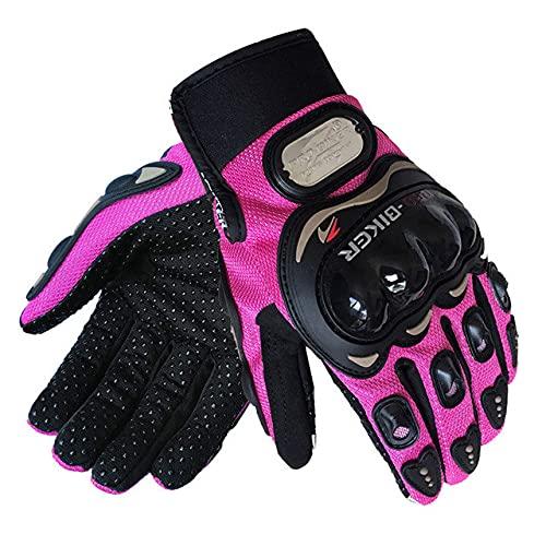 Guantes de Motociclista Moto Luva Motocross Guantes de Carreras Transpirables Moto Bicicleta Ciclismo Guante de Montar paraHombres Mujeres-Pink-3-L