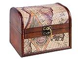 Brynnberg - Caja de Madera Cofre del Tesoro Pirata de Estilo Vintage, Hecha a Mano, Diseño Retro 16x12x12cm