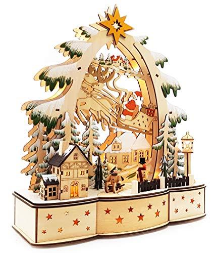 Wichtelstube-Kollektion Holz LED Tisch Schwibbogen Weihnachtsdorf im Erzgebirge Original