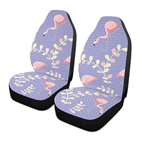Fundas para asientos de coche 2 piezas de asientos delanteros Cute Flamingo en morado Fundas para asientos de automóviles con protector de bolsillo trasero Fundas para alfombrillas de coche Ajuste c 🔥