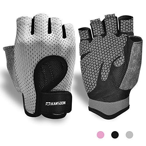 Breathable WorkoutGloves,KnuckleWeightLiftingFingerless GymExercise GloveswithCurvedOpenBack,forPowerlifting,Crossfit,WomenandMen (Grey, Small)