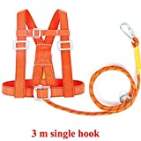 IhDFR Fall Protection Harness, Safety Fall Arrest Harness for Tree Rock Climbing, Mountaineering, Fire Rescue, Higher Level Caving, Rappelling, Sport Climbing (Size : 3m)