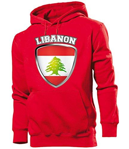 love-all-my-shirts Fussball Fanhoodie Libanon Wappen 5551 Männer Herren Hoodie Pulli Kapuzen Pullover Fanartikel Rot XL