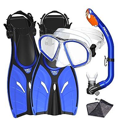 Promate Junior Mask Fins Snorkel Set for Kids, Blue, SM