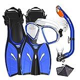Promate Junior Mask Fins Snorkel Set for Kids, Blue, LXL