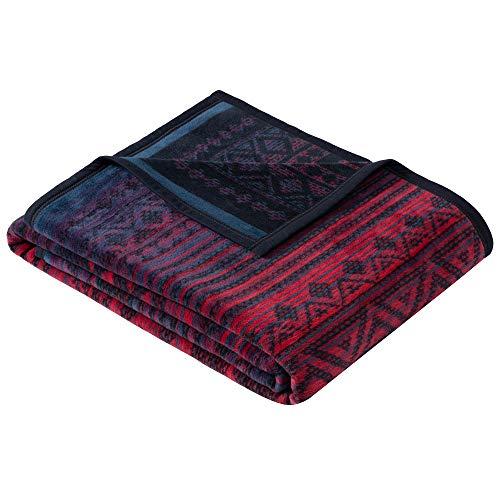 Ibena Karawang Kuscheldecke 150x200 cm - Decke mit Ethnomuster blau violett, Pflegeleichte und kuschelweiche Baumwollmischung