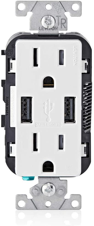 Leviton T5632-W 15-Amp Charger Resistant Duplex Super intense SALE Max 70% OFF Tamper Receptacl