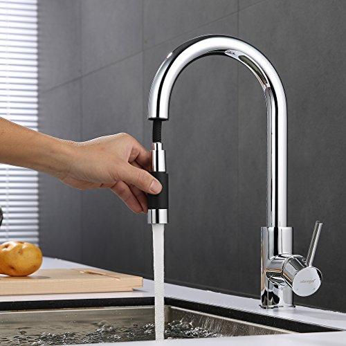 Grifo de cocina con función ducha de ubeegol, de latón cromado, extensible, gira 360º (para fregadero)