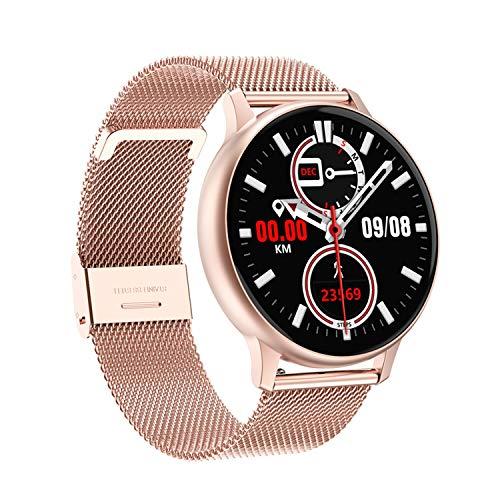 JHHXW Female Smart Watch, 1,3-Zoll-IPS-Farbbildschirm, Sport-Pedometer-Armband, Uhr-Gesichts-Auswahl, IP67 wasserdicht, Informationen Push Smart-Erinnerung, for Android/IOS (Color : Pink/Steel)