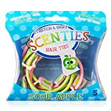 Scenties Sour Apple Scented Hair Bands, 5 Pack   Pretty Ponytail Holders for Thick Hair, Thin Hair & Curly Hair   Baby Girl Hair Ties No Damage Elastic Kids Hair Accessories