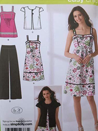 Simplicity Easy Chic Schnittmuster 2373 Damenhose, Kleid oder Oberteil und Jacke, Größen 34-38-40
