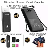 5 in 1 Power Bank Bundle with Phone Attachment Mount Included | Built-in Flip-Out AC Plug | Built-in All 3 Major Charging Cables | Powerful Portable Charger 10000mAh