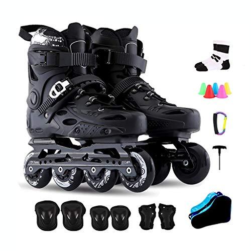 CAIFENG Inline-Skates for Erwachsene bequem und atmungsaktiv Kinderrollschuhe Outdoor-Profi Schwarz Damen Herren einreihig Rollschuh, Größe: 41 EU / 8 US / 7 UK / 25.5cm JP, Farbe: Schwarz-a