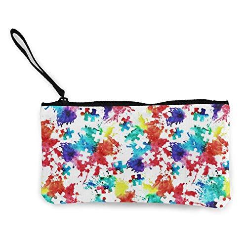 TTmom Carteras de Mujer,Monedero, Autism Awareness Puzzle Piece Pattern Canvas Coin Purse Assorted Money Bag with Zipper