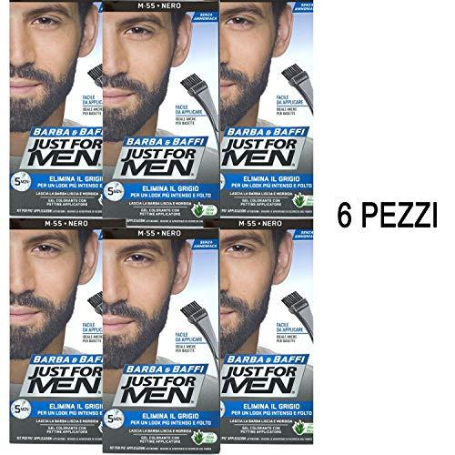 Just for Men Lot de 6 crèmes et moustaches, couleur permanente avec pinceau noir M 55, gel colorant, 2 x 14 g