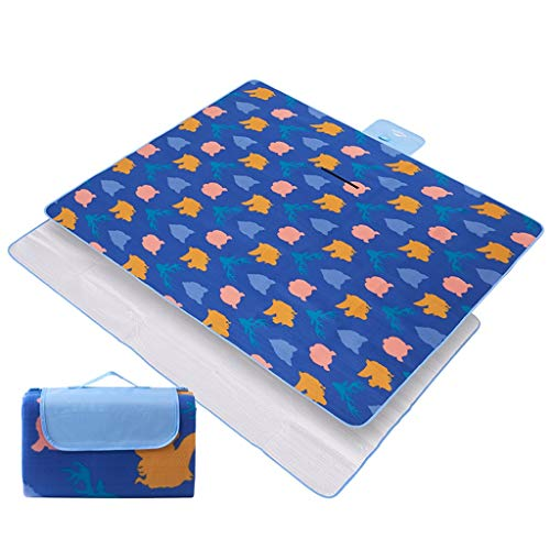 Couvertures De Pique-Nique Bleue Tapis de Plage de Support de Plage de Support imperméable Pliable en Plein air Camping avec poignée Journée familiale, Voyage HMLIFE (Size : 200 * 200cm)