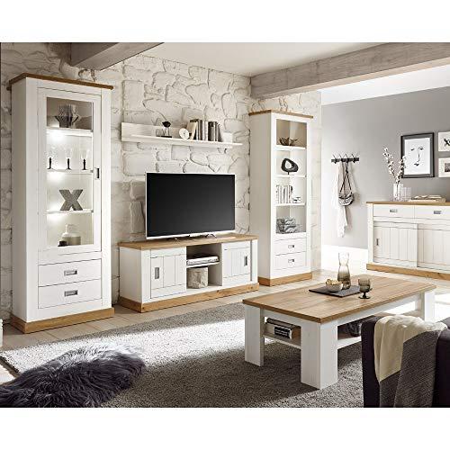 Wohnwand im Landhausstil, Pinie weiß, Wotaneiche, Lowboard, 2 Vitrinenschrank, Sideboard