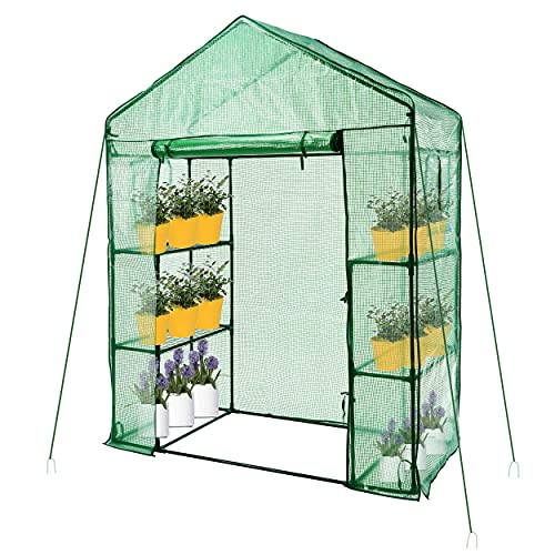 Greenhouse, Outdoor Greenhouse, Walk-in Outdoor Greenhouse with Roll-up Zipper Door and Windows, Small Walk-in 3 Tiers 4 Shelves Stands Plant Green House for Seedling, Flowers, Plant Growing