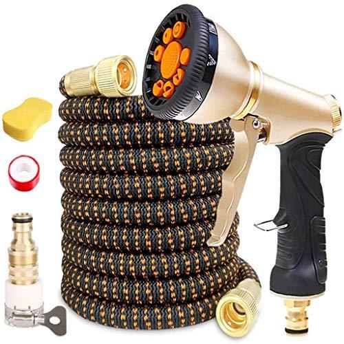 Tuyau d'arrosage Tuyau, 25 pi - 200 Ft Expandable Flexible d'arrosage Tuyau avec 9 Fonction de pulvérisation tuyaux d'arrosage Pistolet d'eau (No Kink, Connecteurs en laiton massif) (Couleur: Noir Ora