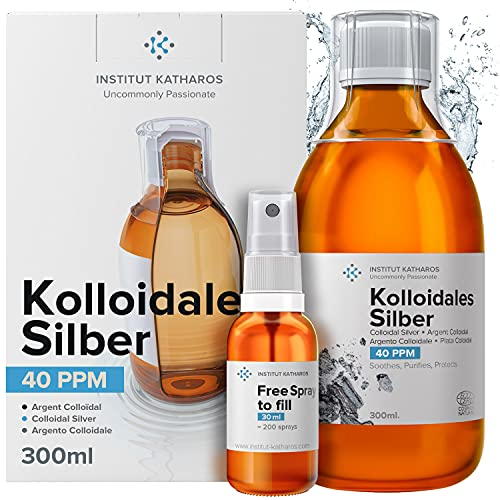Kolloidales Silber 100% natürlich ● 40 PPM (300ml) ● Cosmos Natural zertifiziert ● Mit auffüllbarem 30ml-Spray ● Hohe Konzentration, kleinere Partikeln, höhere...