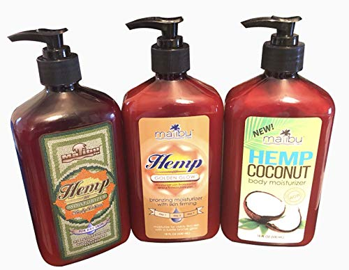 Malibu Tan Variation 18fl. oz. Hemp Body Moisturizing, Coconut Body Moisturizing and Golden Glod Skin Firming Bronzing Tanning Package 3 Pack