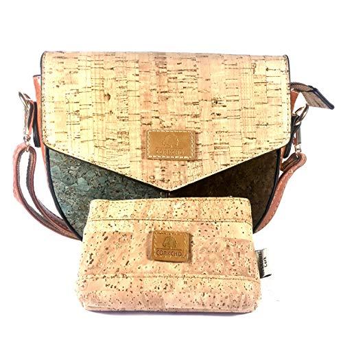 corkcho Umhängetasche für Damen, mit Geldbörse, modisch, aus natürlichem Kork, umweltfreundlich, leicht, lässig und elegant