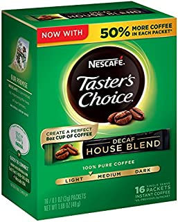 Nescafe Taster's Choice Decaf Instant Coffee, House Blend (16 count x0.106oz) (Pack of 8)