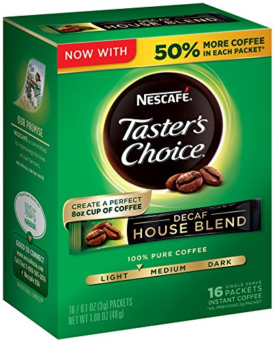 Nescafe Taster's Choice Decaf Instant Coffee, House Blend (16 count x0.106oz) (Pack...