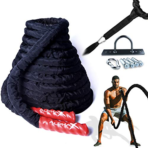 Battle Rope for Home Gym – Anchor Strap Kit & Wear Resistant Protective Sleeve – Heavy Fitness Rope Exercise Equipment for Outdoor Workouts – FREE Training eBook – 30 Ft Length 1.5 Inch Diameter – Strength & Cardio Workout