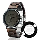BEWELL Coppia di orologi da polso in legno fatti a mano, alla moda, minimalista, sottile, analogico, al quarzo, per uomini e donne W163A