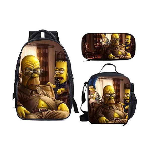 51tS96t4x L. SS600  - The Si-mps-ons - Juego de mochila escolar con bolsas de almuerzo y estuche ligero para viaje para niños y niñas