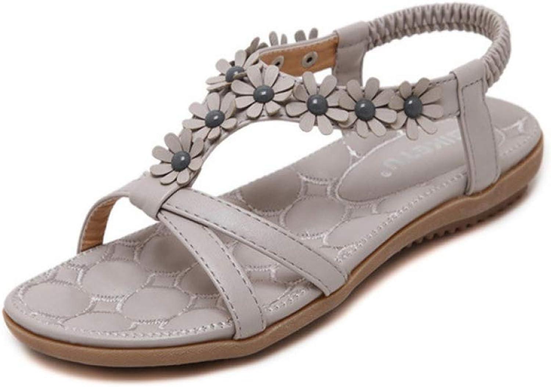 Btrada Women Flats Sandals Beach Soft Sole Walking shoes Ladies Flower Outdoor Casual Comfort Footwear