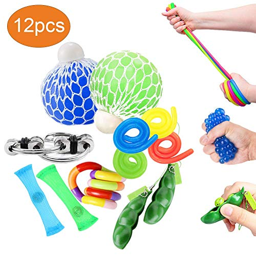 OKSANO Sensory Toys Sets 12Pcs, Fidget Toys for Kids and Adults Autism Fiddle Toys for ADHD, Squeeze Mesh Balls, Flippy Chain, Stretchy Strings, Soybean Stress Toys, Tangle Toys, Stress Relief Strap