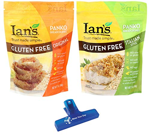 Ians Natural Foods Gluten Free Panko Bread Crumbs, Original and Italian Style, Three 7oz Bags of Each (6 Pack) - with Make Your Day Bag Clip