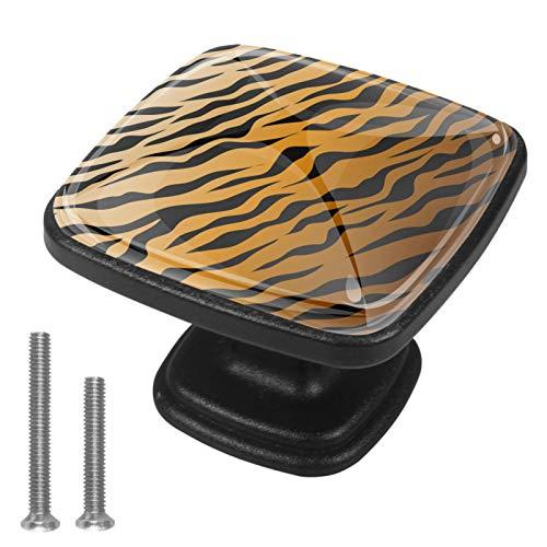 Pomos cuadrados para armario de cocina, 4 piezas de tiradores de cajón, diseño de tigre