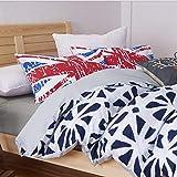 ROLANDBOT Bettwäsche 4 Stück Bettbezug-Set mit Reißverschluss, Druckmuster Reversible, rauter Mikrofaser, Leicht weichen, strapazierfähigen König/Königin (Farbe : 3, Size : 79' x90')